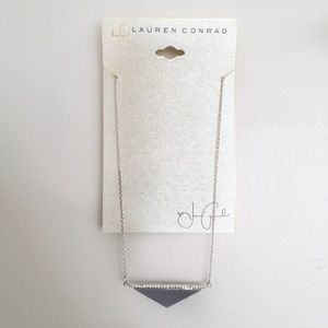 NWT Lauren Conrad Studded Gray Triangle Necklace